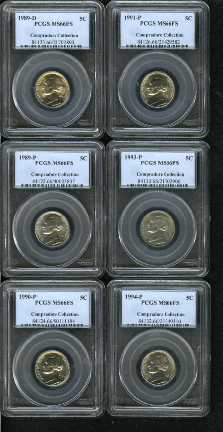 648: 1989-D 5C MS66 Full Steps PCGS,