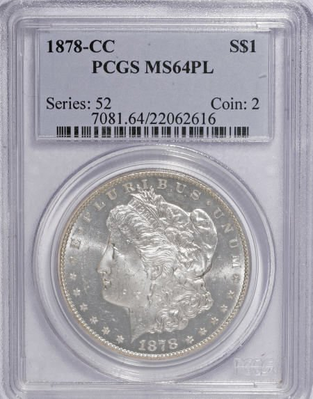 1285: 1878-CC $1 MS64 Prooflike PCGS.