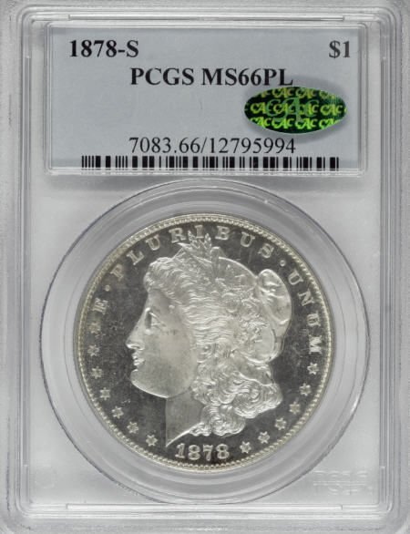 1287: 1878-S $1 MS66 Prooflike PCGS. CAC.