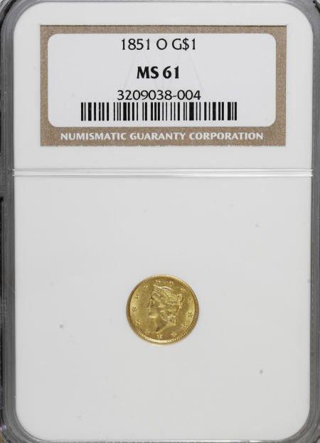 6591: 1851-O G$1 MS61 NGC. NGC Census: (94/225). PCGS P