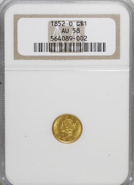 6592: 1852-O G$1 AU58 NGC. NGC Census: (136/148). PCGS