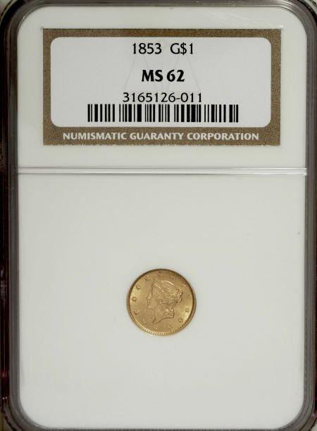 6594: 1853 G$1 MS62 NGC. NGC Census: (2617/2073). PCGS