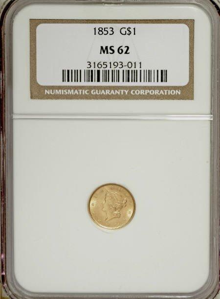 6596: 1853 G$1 MS62 NGC. NGC Census: (2617/2073). PCGS