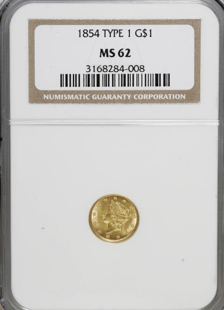 6601: 1854 G$1 Type One MS62 NGC. NGC Census: (1032/774
