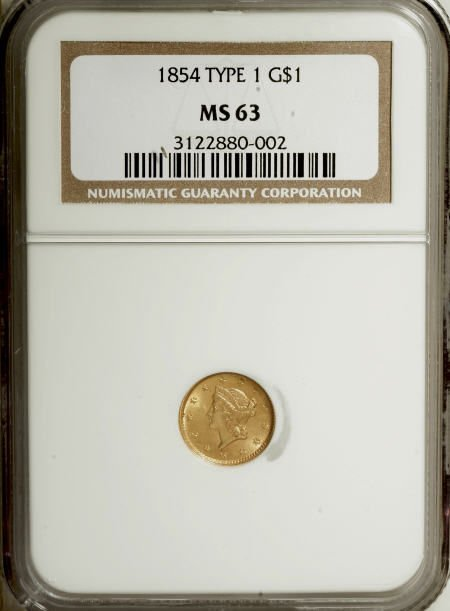 6602: 1854 G$1 Type One MS63 NGC. NGC Census: (433/342)
