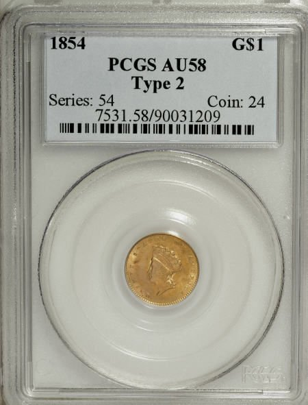 6604: 1854 G$1 Type Two AU58 PCGS. PCGS Population (465