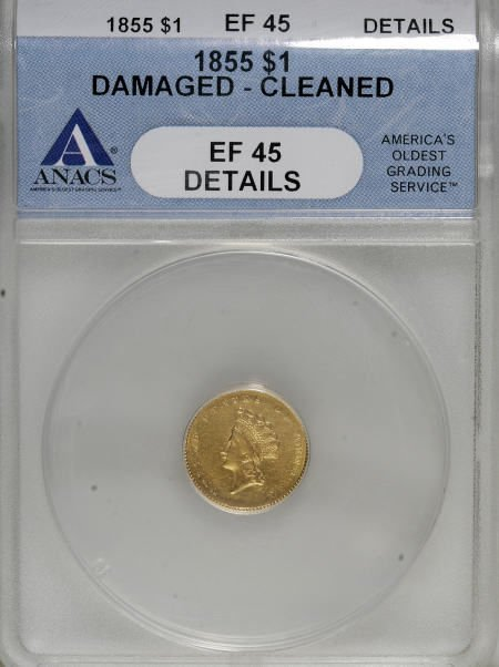 6605: 1855 G$1--Cleaned, Damaged--ANACS. XF45 Details.