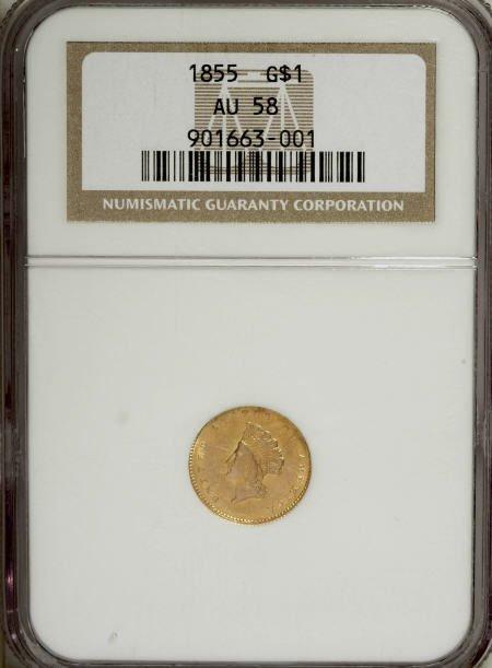 6606: 1855 G$1 AU58 NGC. NGC Census: (1700/1334). PCGS