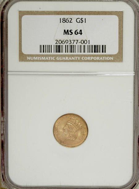 6608: 1862 G$1 MS64 NGC. NGC Census: (255/170). PCGS Po
