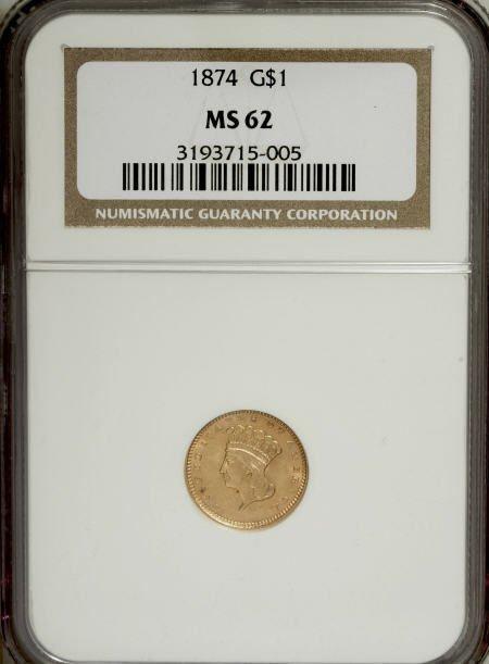 6609: 1874 G$1 MS62 NGC. NGC Census: (1000/1238). PCGS
