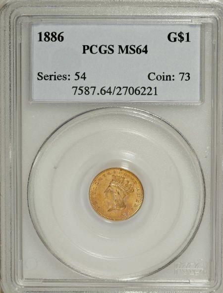 6612: 1886 G$1 MS64 PCGS. PCGS Population (70/55). NGC