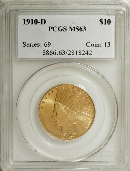 6950: 1910-D $10 MS63 PCGS. PCGS Population (1499/626).