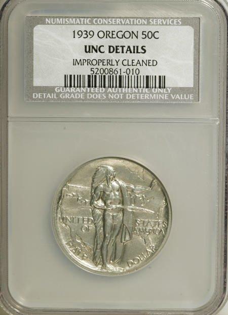 7401: 1939 50C Oregon--Improperly Cleaned--NGC. Unc