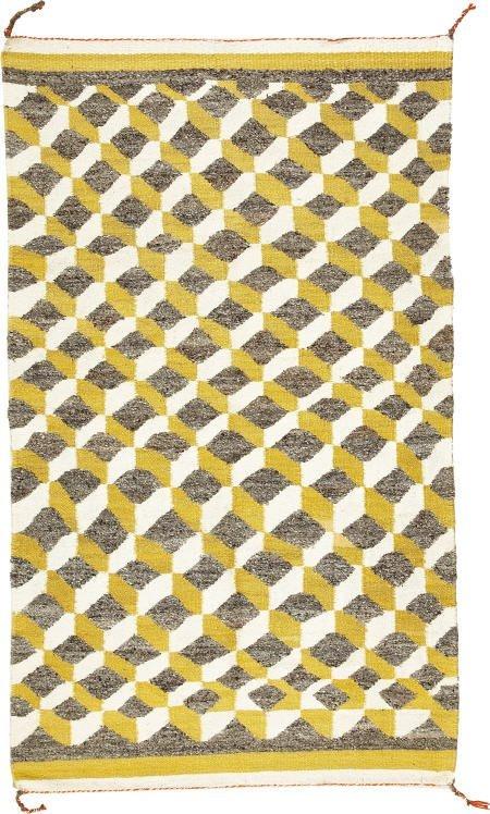 78007: A NAVAJO OPTICAL RUG c.  1950  woven of native h