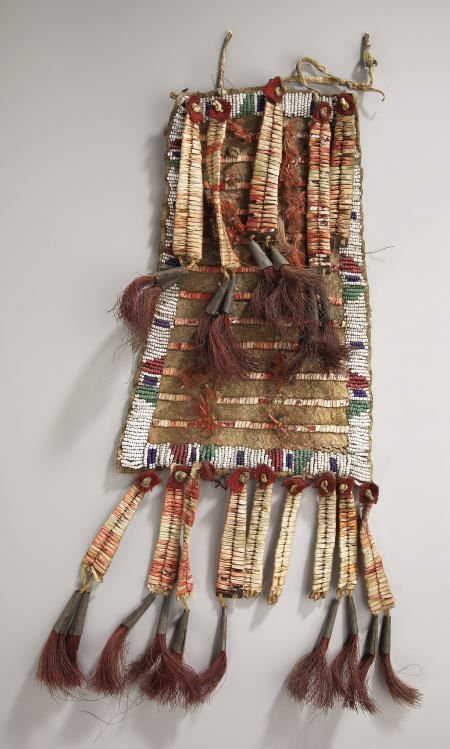 78022: A SIOUX BEADED AND QUILLED HIDE TIPI ORNAMENT c.