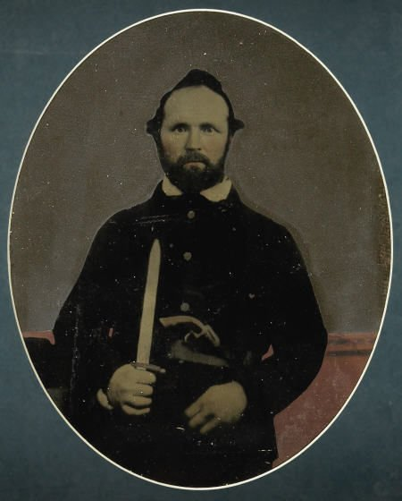 72003: Painted Tintype Portrait of a Bearded CW Soldier