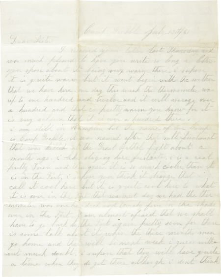 72005: J M Atwood Handwritten Letter to his Sister 1861