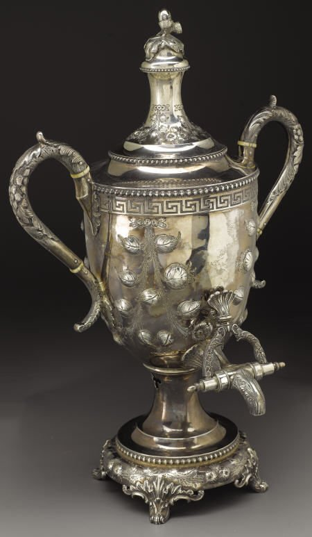 72025: Magnificent Southern Coin Silver Hot Water Urn