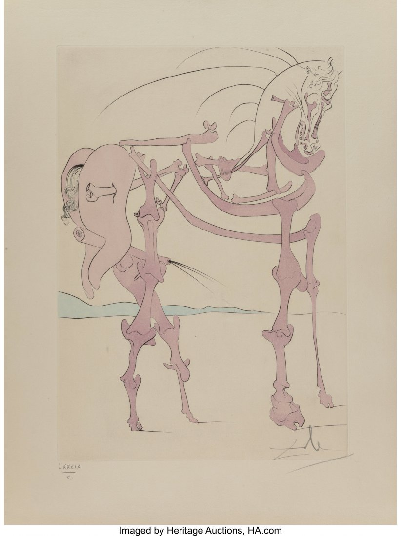 40029: Salvador Dalí (1904-1989) Cheval en rose,