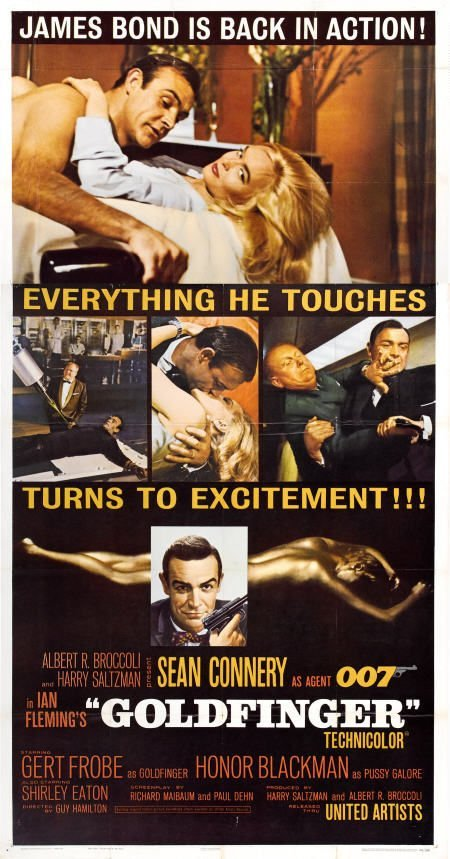 28660: Goldfinger (United Artists, 1964). Three Sheet (