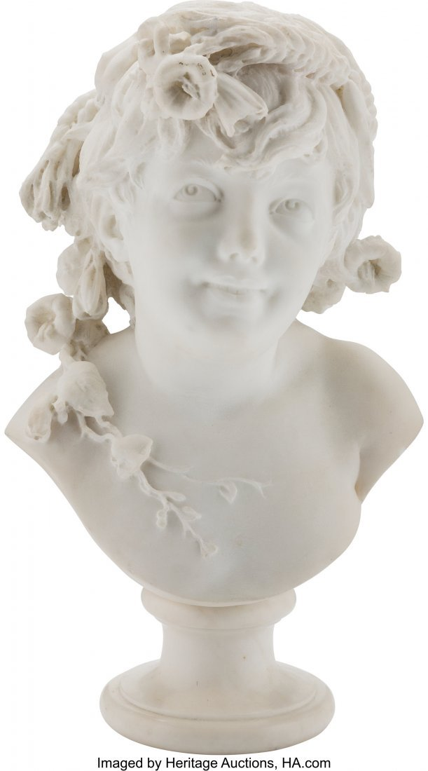 28217: An Italian Carved Marble Bust of a Girl, Milan,