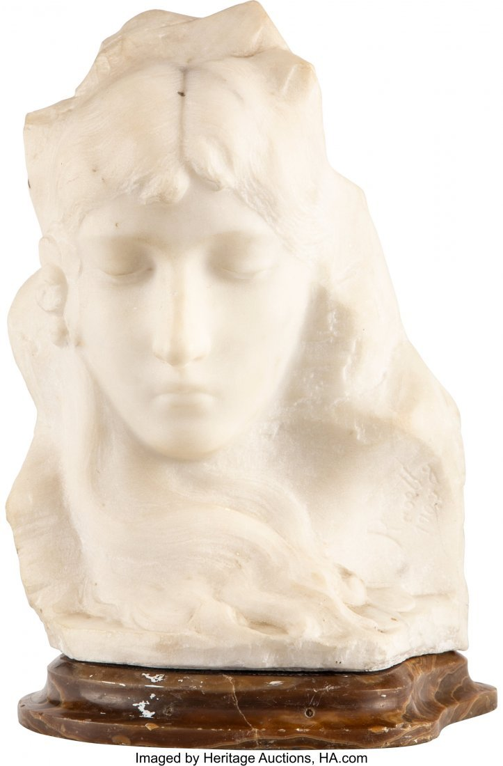 28223: An Italian Carved Marble Sculpture of a Woman, c