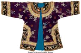28047: A Chinese Purple Ground Embroidered Floral Silk