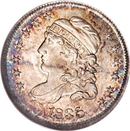 11: 1835 H10C Large Date, Small 5C MS67 NGC.