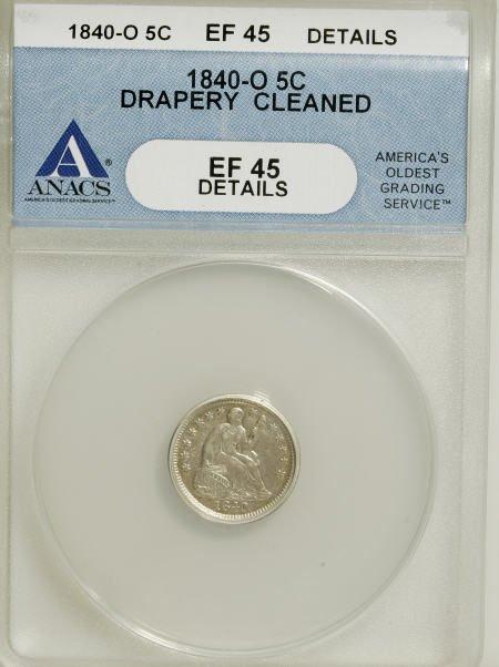 18: 1840-O H10C Drapery--Cleaned--ANACS. XF45