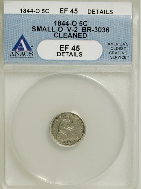 21: 1844-O H10C Small O--Cleaned--ANACS. XF45