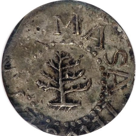 866: 1652 3PENCE Pine Tree Threepence MS61 NGC.