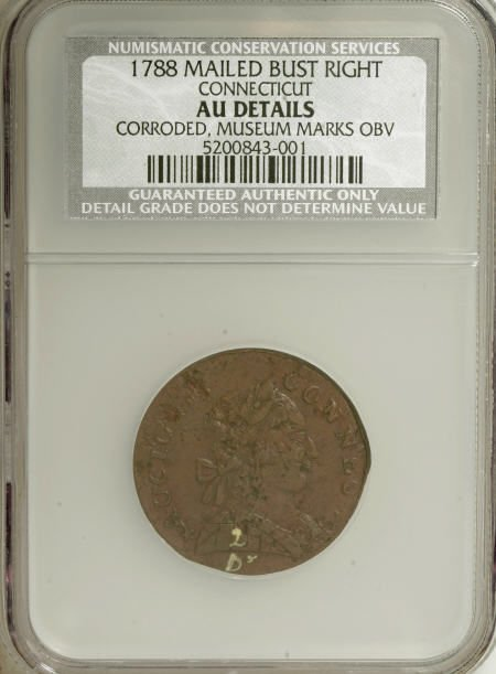 7012: 1788 COPPER Connecticut Copper, Mailed Bust
