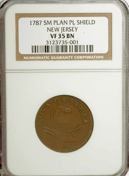 7017: 1787 COPPER New Jersey Copper, Small Planchet, Pl