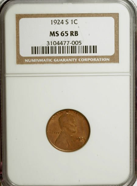 7495: 1924-S 1C MS65 Red and Brown NGC. NGC Census: (13