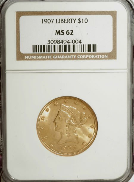 10003: 1907 $10 MS62 NGC. NGC Census: (7394/5349). PCGS