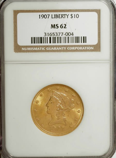 10004: 1907 $10 MS62 NGC. NGC Census: (7394/5349). PCGS