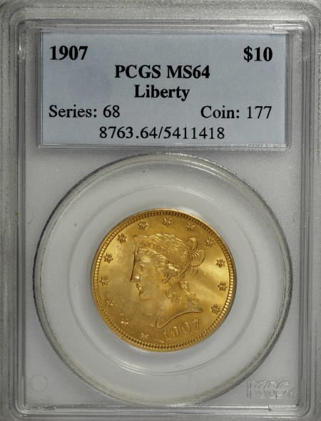 10005: 1907 $10 MS64 PCGS. PCGS Population (478/15). NG