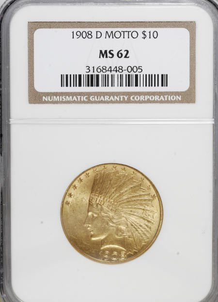 10010: 1908-D $10 Motto MS62 NGC. NGC Census: (88/44).