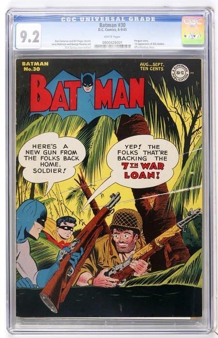 41013: Batman #30 (DC, 1945) CGC NM- 9.2 White pages.