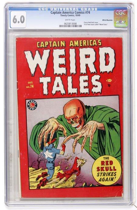 41020: Captain America Comics #74 White Mountain CGC FN