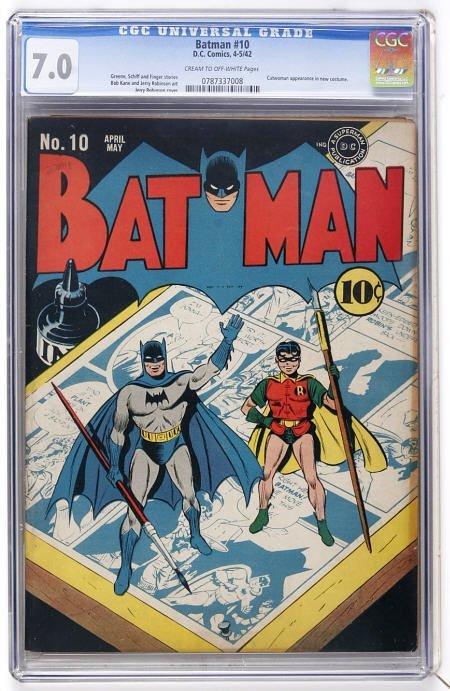 41012: Batman #10 (DC, 1942) CGC FN/VF 7.0 c/ow