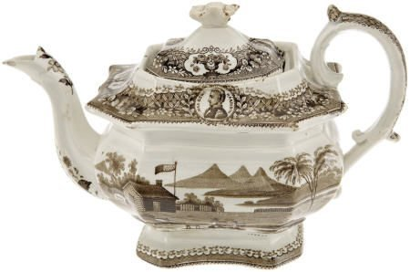 48016: William Henry Harrison Imposing Teapot from 1840