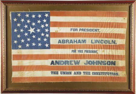 48046: Lincoln & Johnson: Large 1864 Campaign Flag