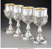 74157: A Set of Four Continental Partial Gilt Silver Go