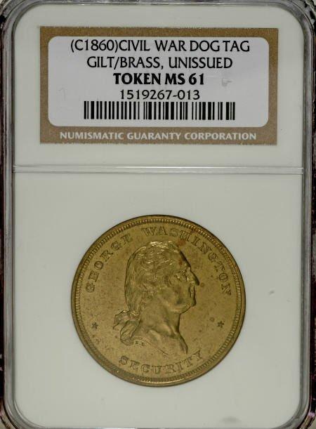 29129: (Circa 1860) Gilt Brass Civil War Dog Tag MS61