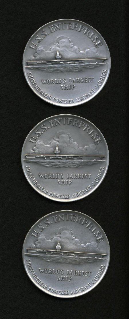 29141: Three Silver 1960 U.S.S. Enterprise Medals.