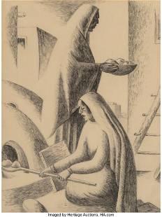Gordon Pueblo Women Baking Bread c. 1935 penci