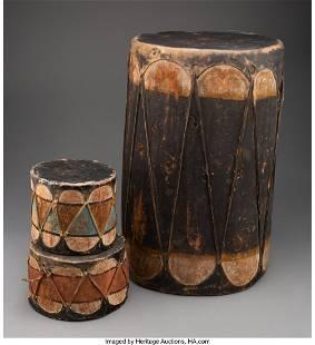 Three Cochiti Drums c. 1900 - 1930 wood, hide,