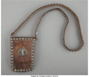 A Navajo Man's Leather Pouch c. 1920 commerci