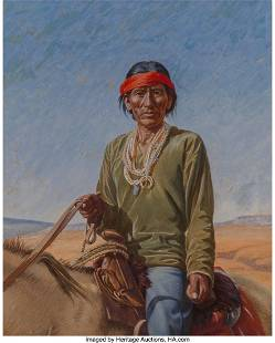 Unknown Artist Navajo Man on Horseback acrylic